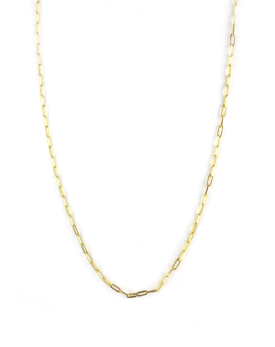 Classic Long Gold Paper Clip Chain - 30""