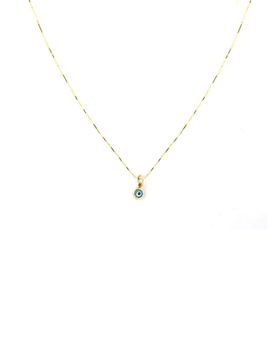 14K Gold Mini Greek Evil Eye Necklace
