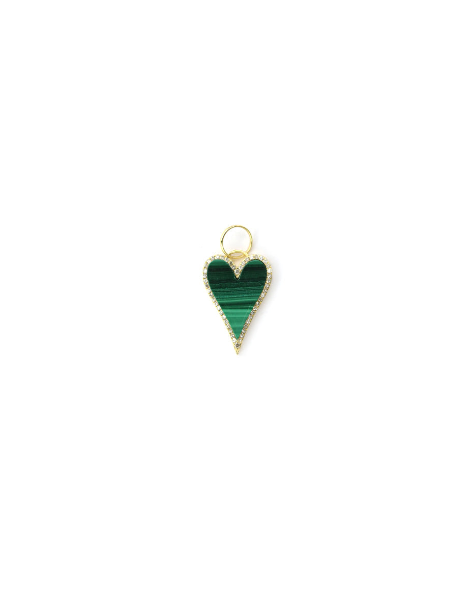 14K Gold Malachite Heart Charm