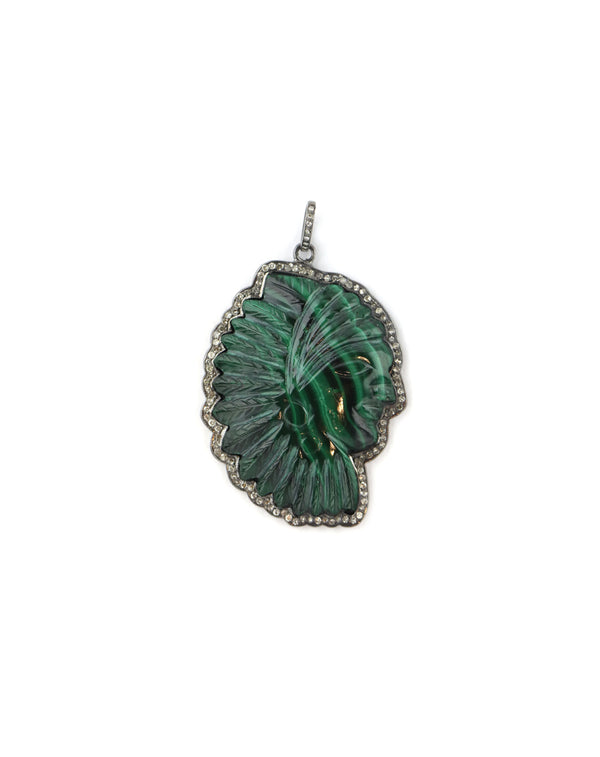 Malachite Diamond Indian Headdress Pendant