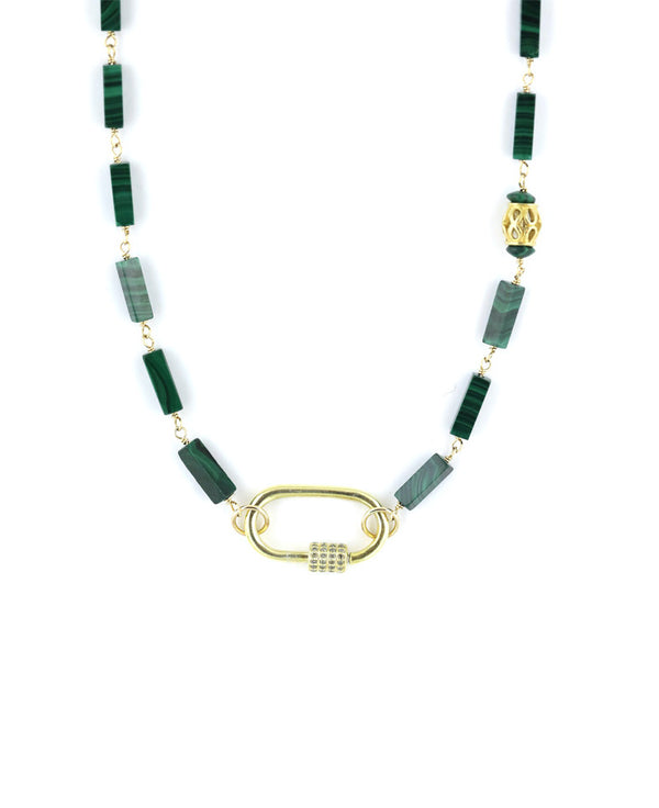 The Tin Cup Necklace: Malachite with Diamond Gold Carabiner Lock