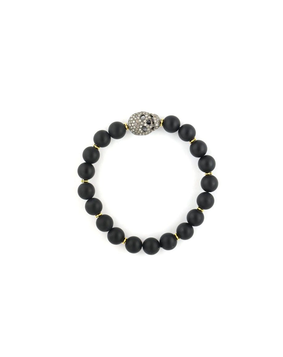 Matte Black Onyx Diamond Skull Stretchy