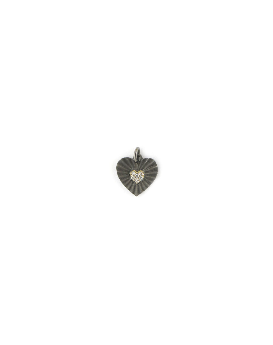14K Gold Two Tone Fanned Heart Charm