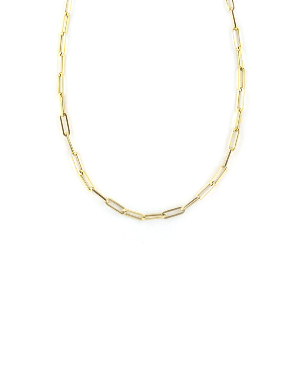 Medium 14K Gold Paper Clip Chain