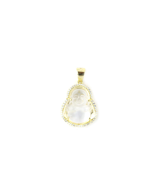 Small Clear Buddha Charm with Crystal Frame