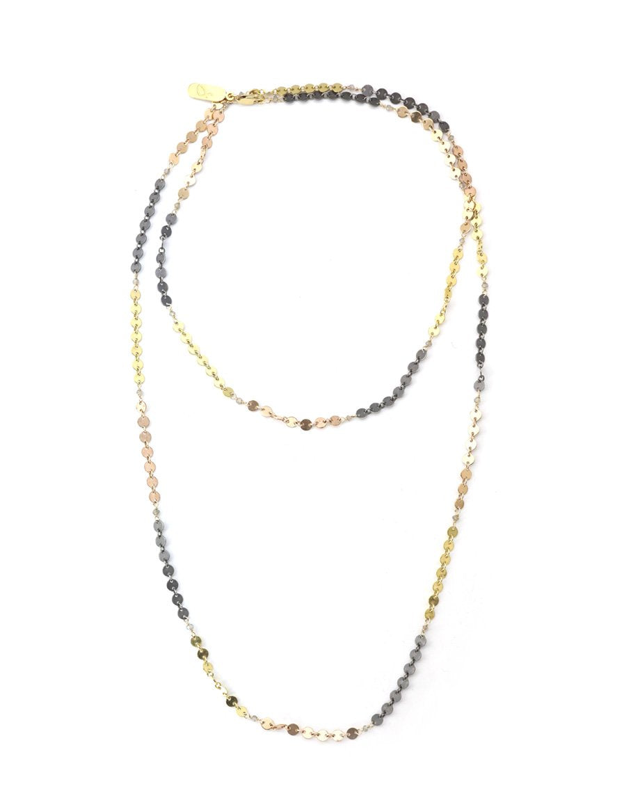 mixed metal layering necklace