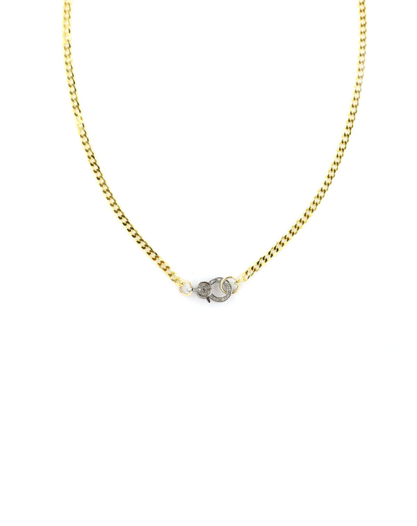 The Mini Eva Lock Necklace - Gold Cuban Chain