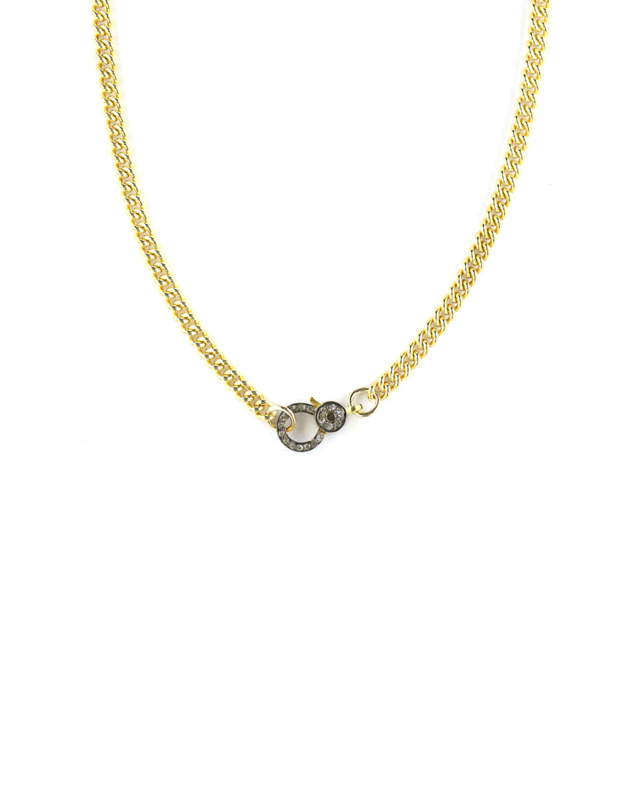 The Mini Eva Lock Necklace - Gold Curb Link Chain