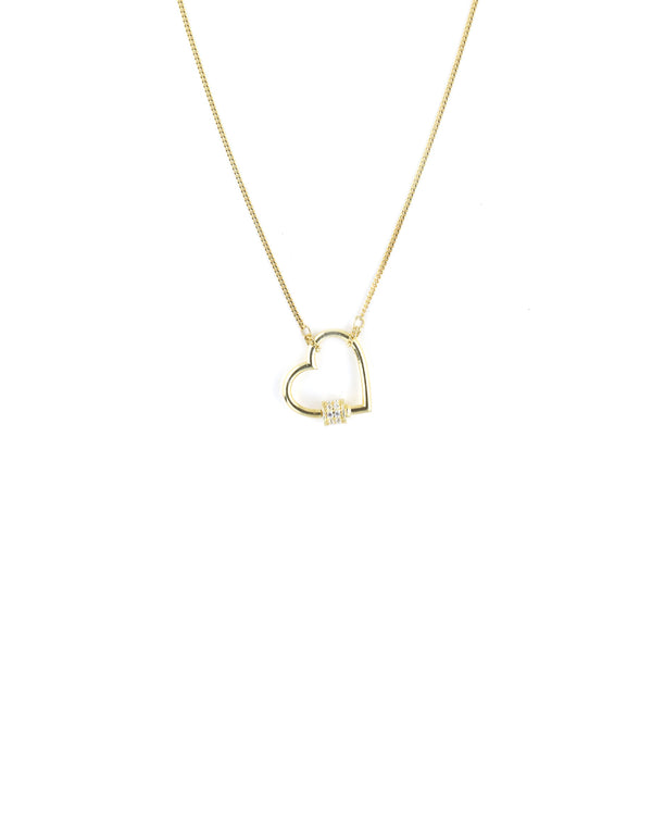 Mini Gold Heart Carabiner Necklace