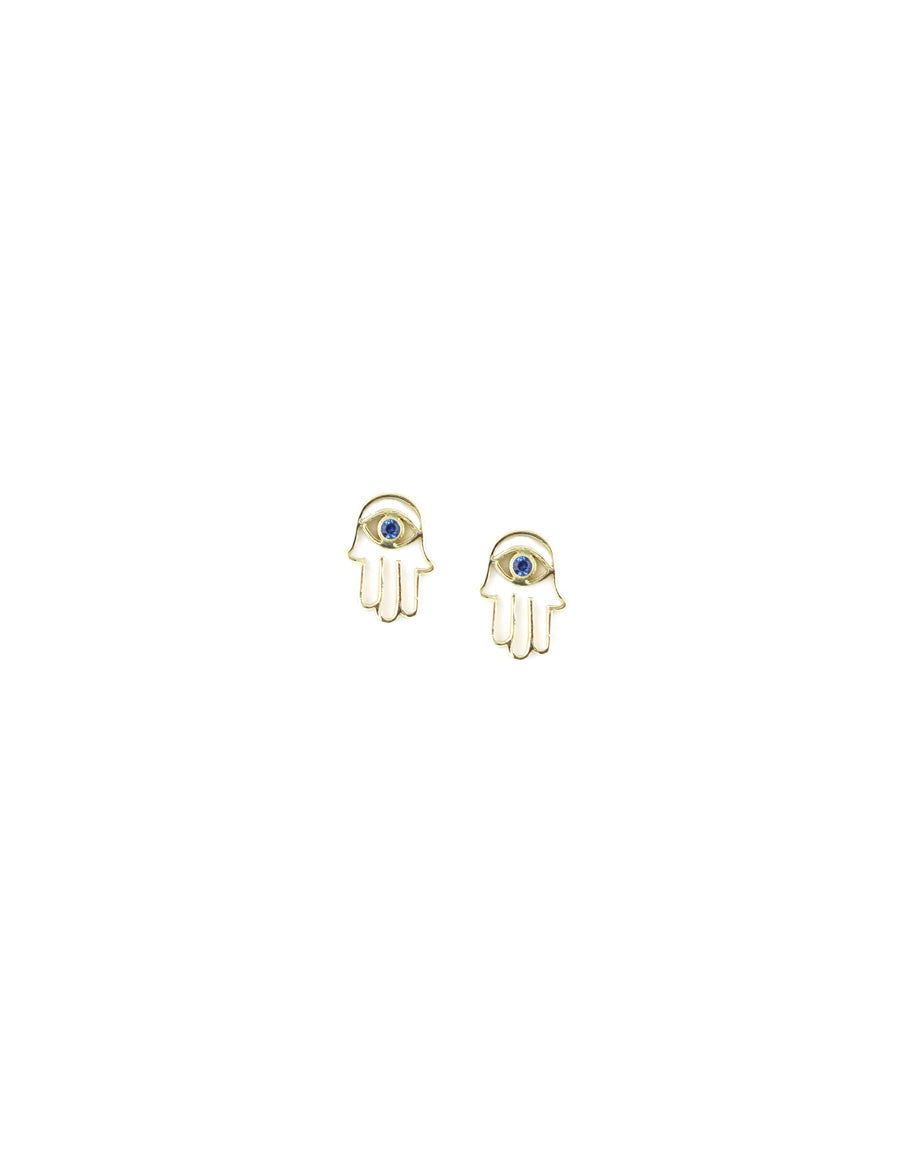 14K Gold Cut Out Tiny Hamsa Stud