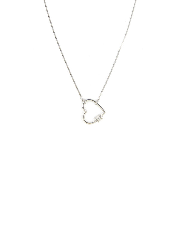 Mini Silver Heart Carabiner Necklace