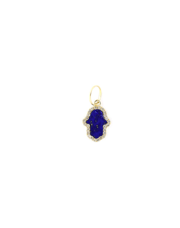 14K Gold Exclusive Mini Lapis Hamsa Charm