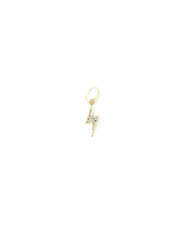 14K Gold Mini Diamond Lightning Bolt Charm