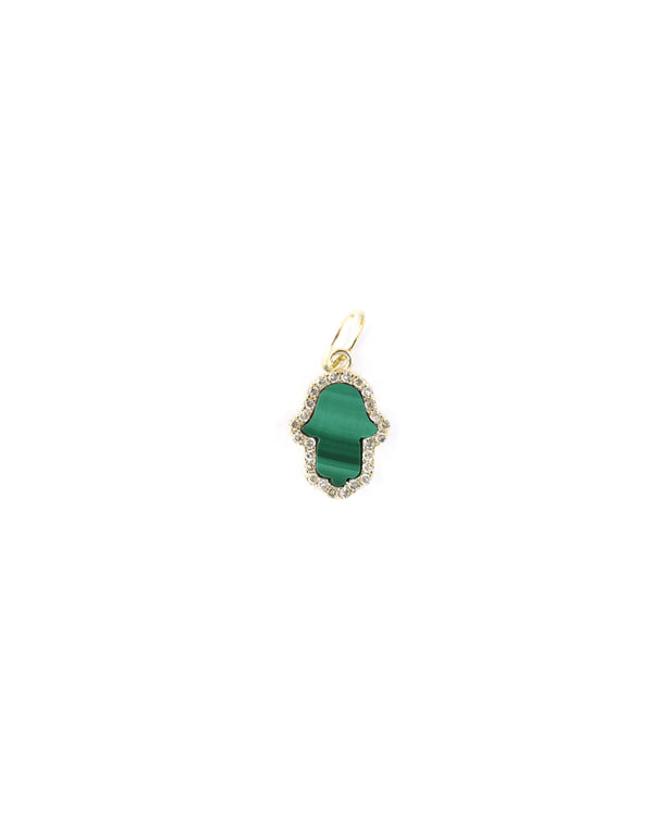14K Gold Exclusive Mini Malachite Hamsa Charm