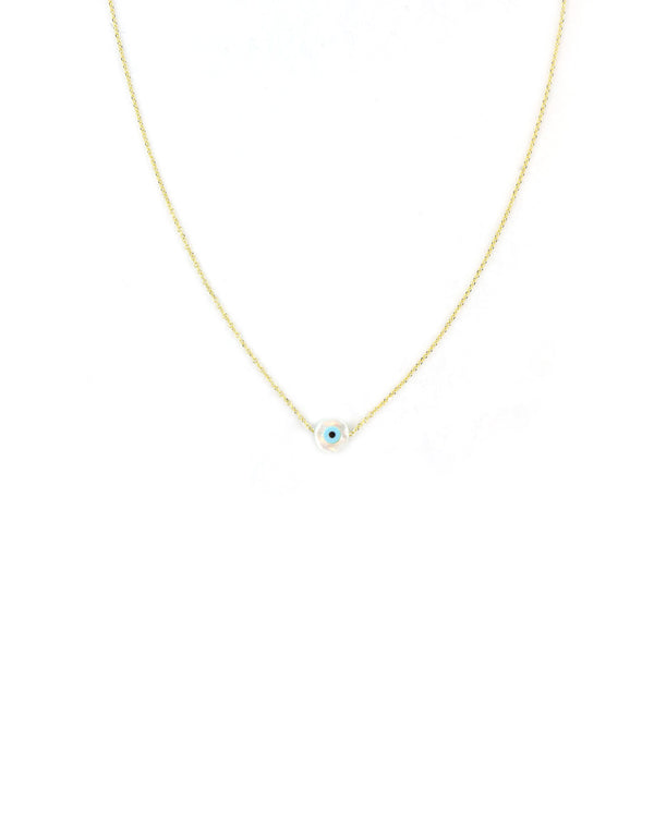 14K Gold Mini Mother of Pearl Greek Evil Eye Necklace
