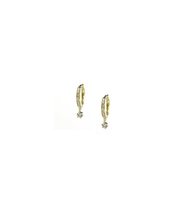 14K Gold Mini Pave Huggie Diamond Drop Earrings
