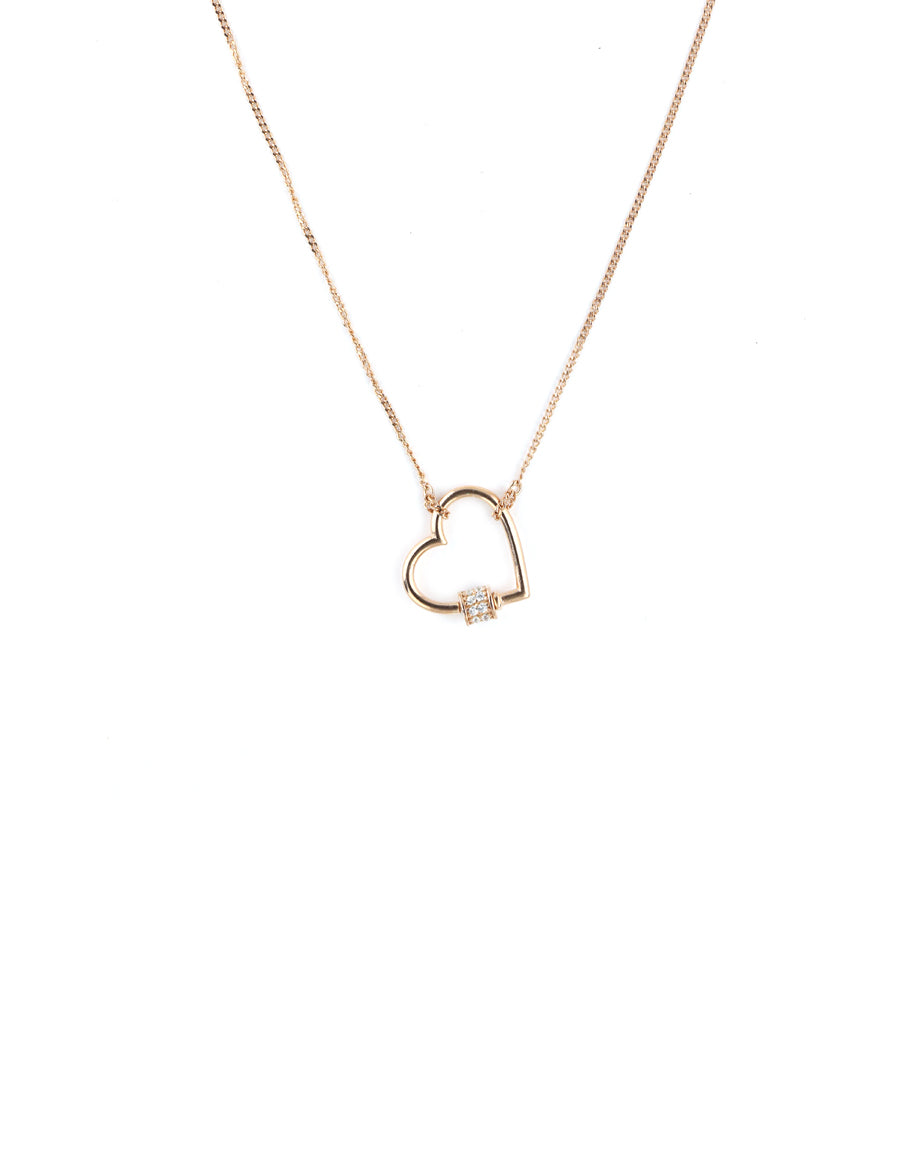 Mini Rose Gold Heart Carabiner Necklace