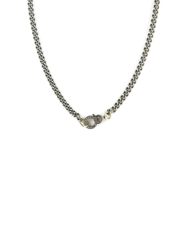 The Mini Eva Lock Necklace - Silver Curb Link Chain