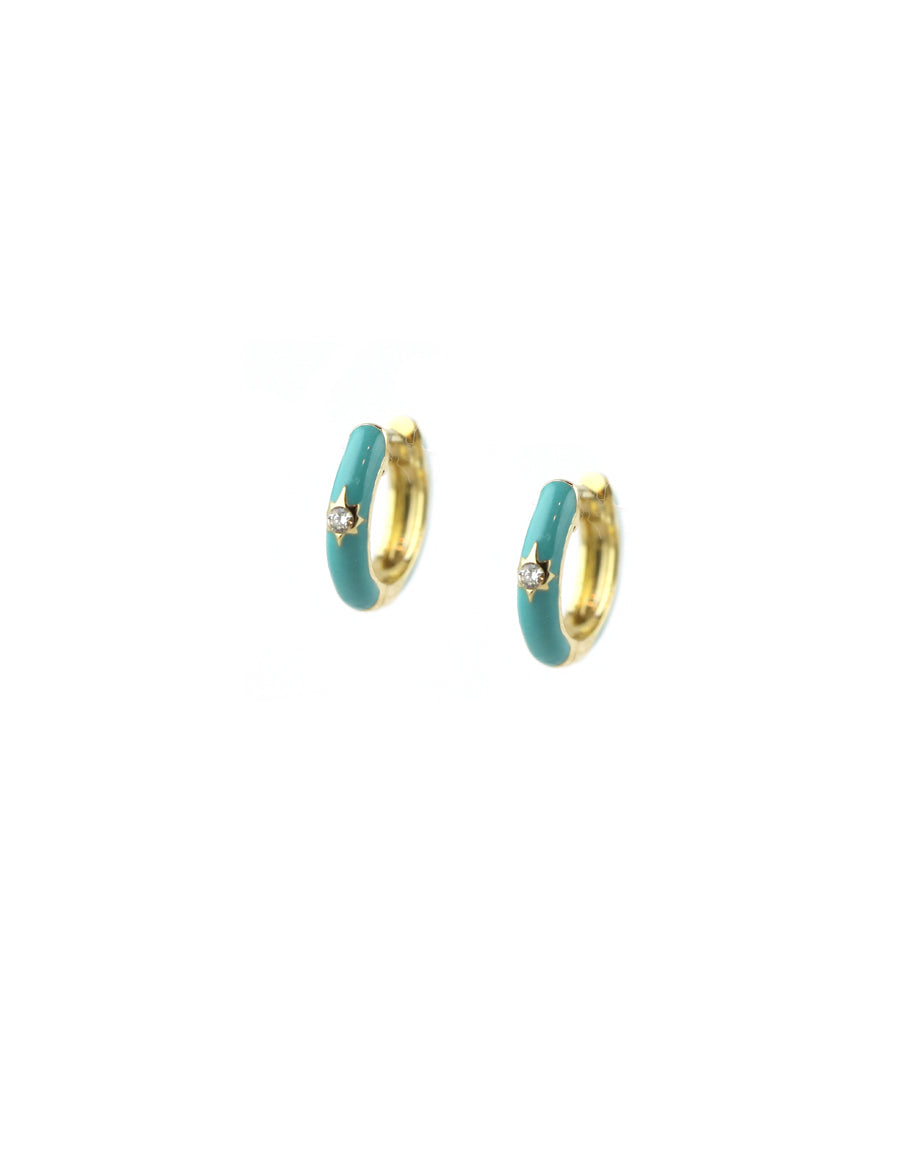 14K Gold Turquoise Enamel Diamond Huggies