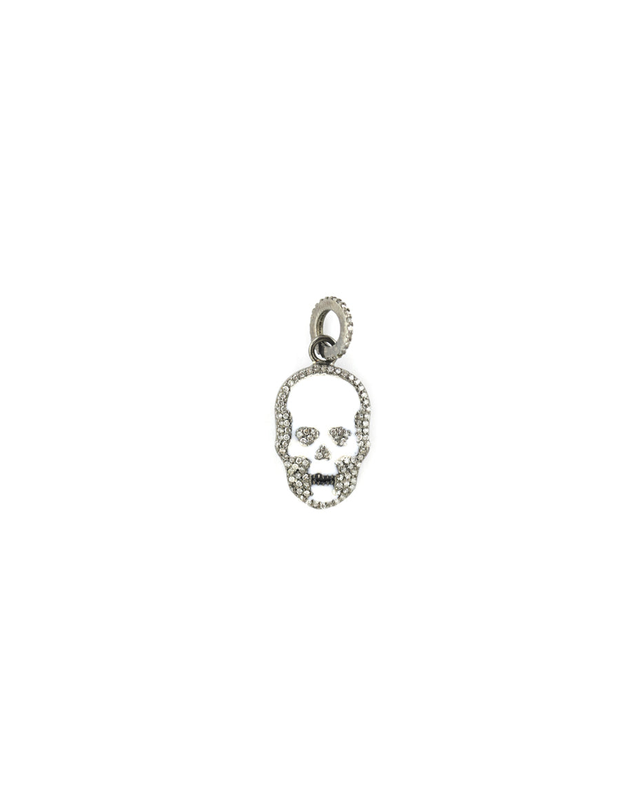 Mini White Enamel Diamond Skull Charm