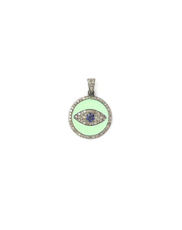 Mint Enamel Diamond Evil Eye Charm