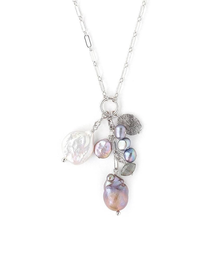 Chan Luu Silver Baroque Pearl Ring Charm Necklace