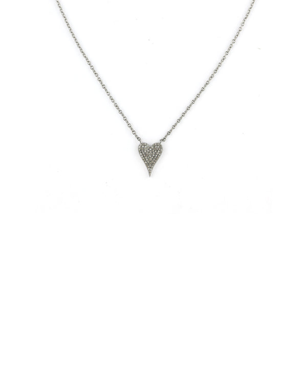 Pave Diamond Silver Heart Necklace