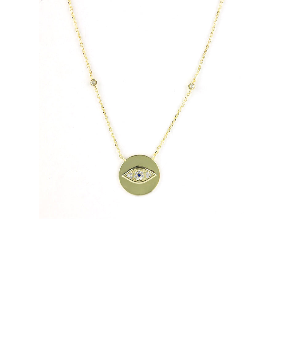 Modern Gold Evil Eye Coin Necklace