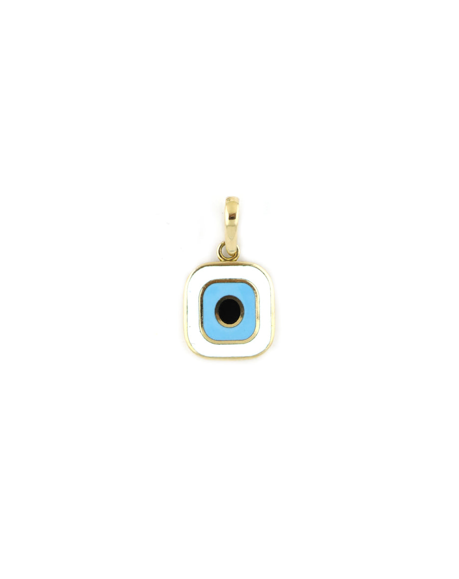 Modern Rectangle Enamel Evil Eye Turkish Charm
