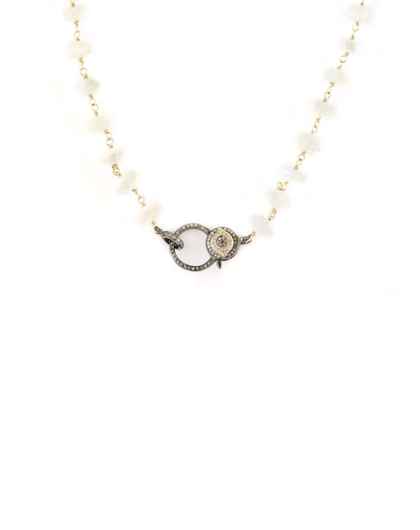 moonstone evil eye lock necklace