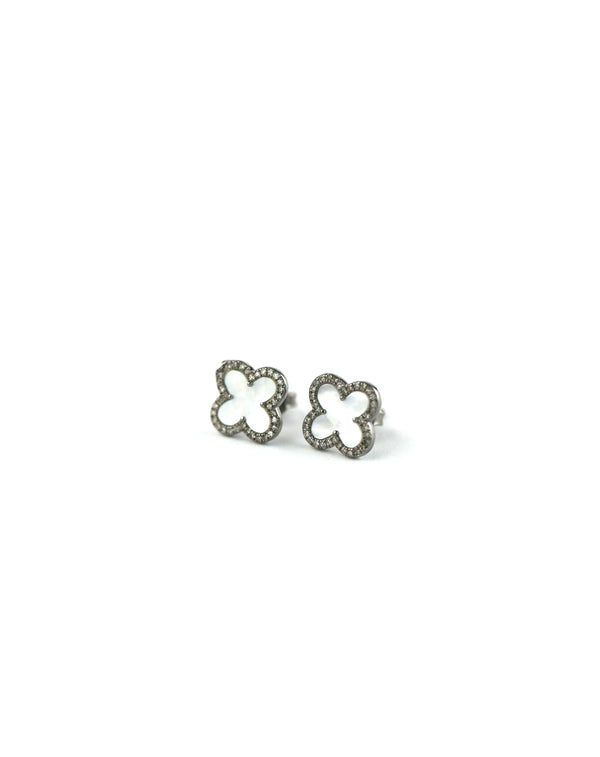 Mother of Pearl Diamond Clover Studs