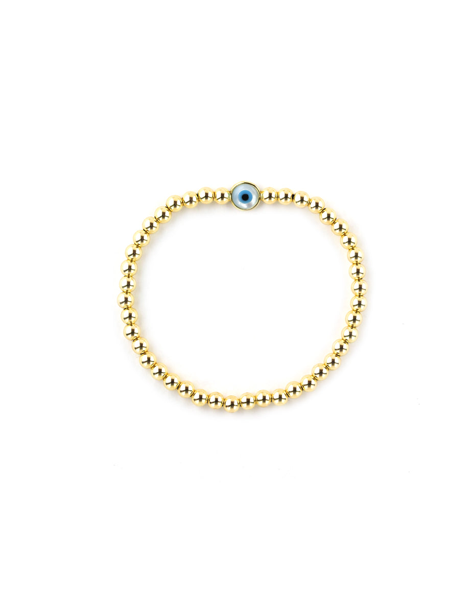 Mother of Pearl Evil Eye Gold Bead Stretchy