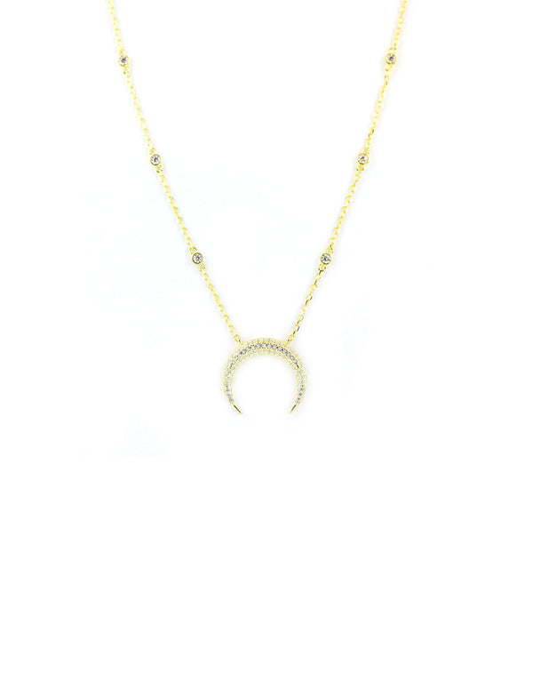 Crystal Crescent Horn Necklace