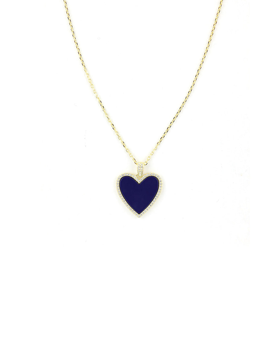 Navy CZ Heart Necklace