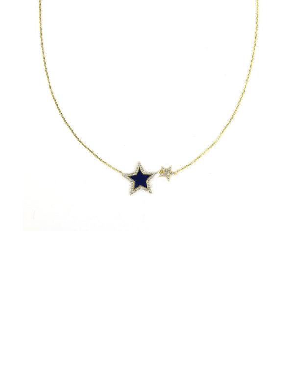Double Navy Enamel Star Necklace