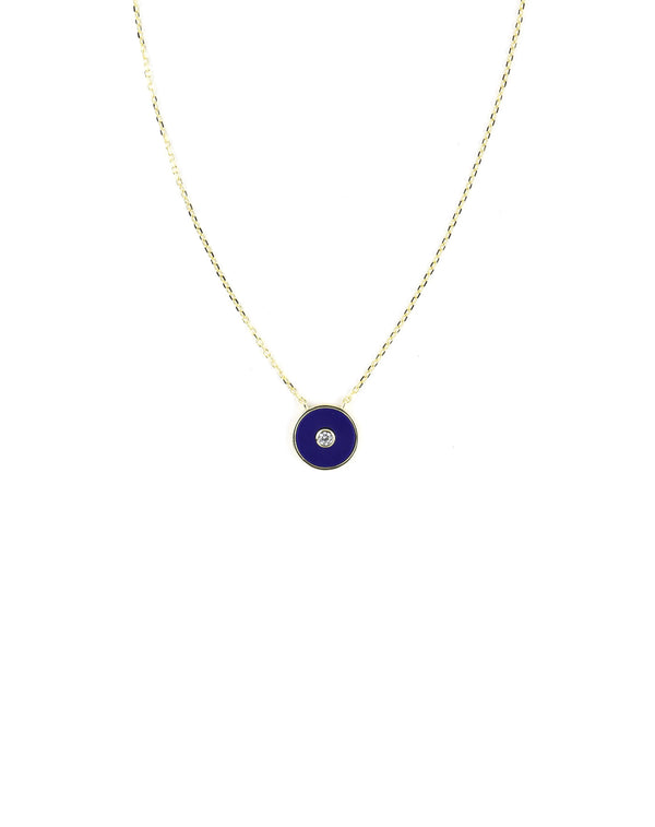 Modern Navy Enamel Evil Eye Necklace