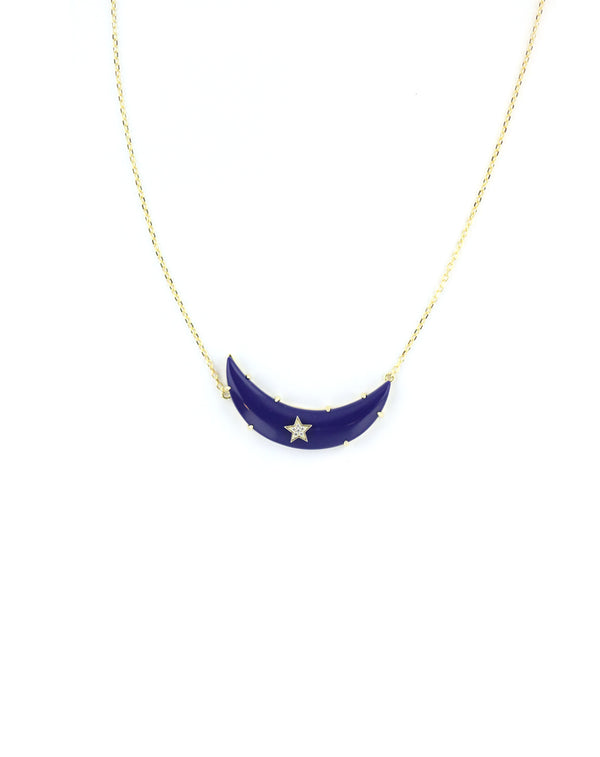 Navy Moon Necklace