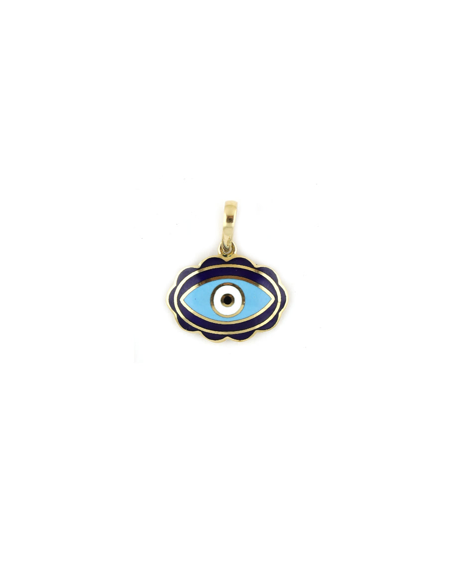 Scalloped Navy Oval Enamel Evil Eye Turkish Charm