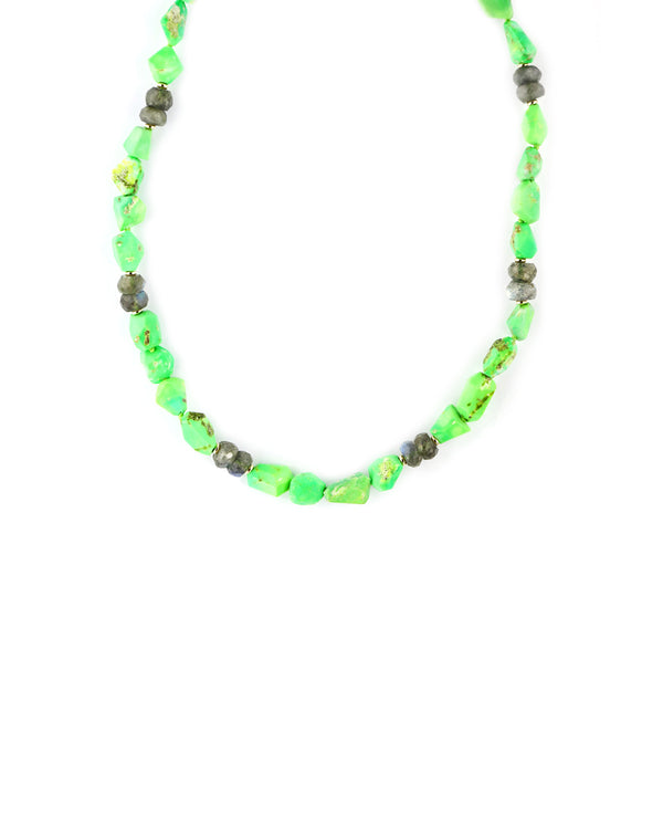 Neon Green Dyed Turquoise & Labradorite Necklace