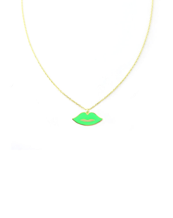 Neon Green Lips Necklace