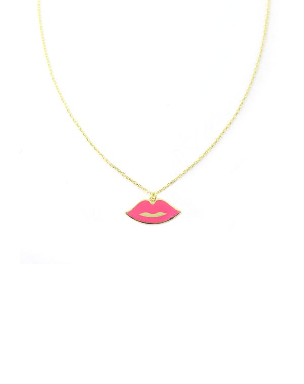 Neon Pink Lips Necklace