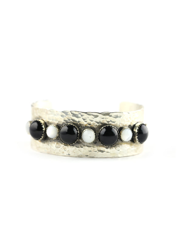 Black Onyx & Mother of Pearl Silver Cuff