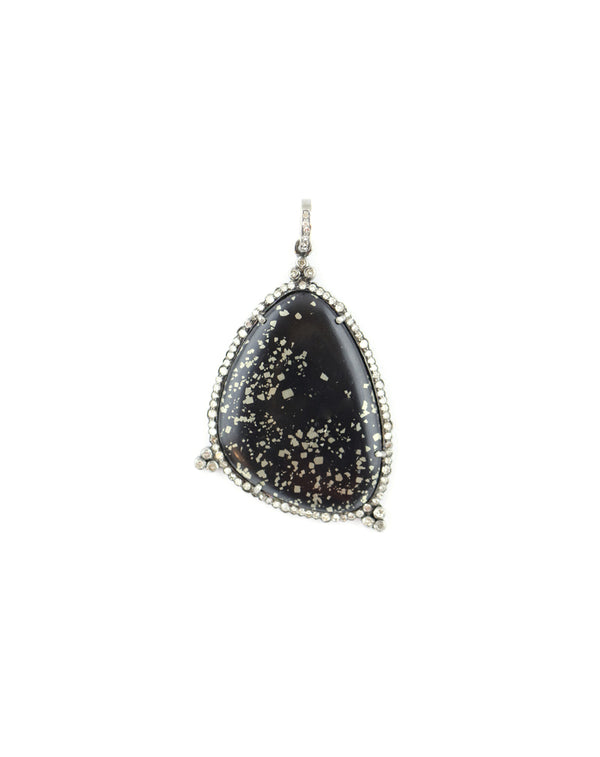 Black Onyx Pyrite Diamond Pendant