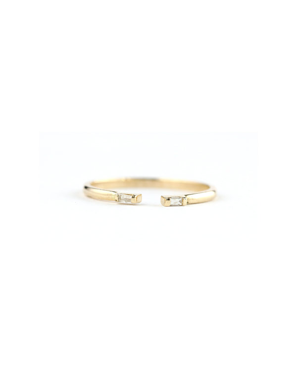 14K Gold Open Baguette Diamond Ring