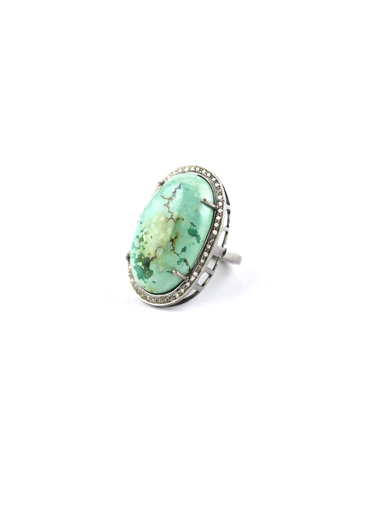 Oval Green Turquoise Diamond Ring