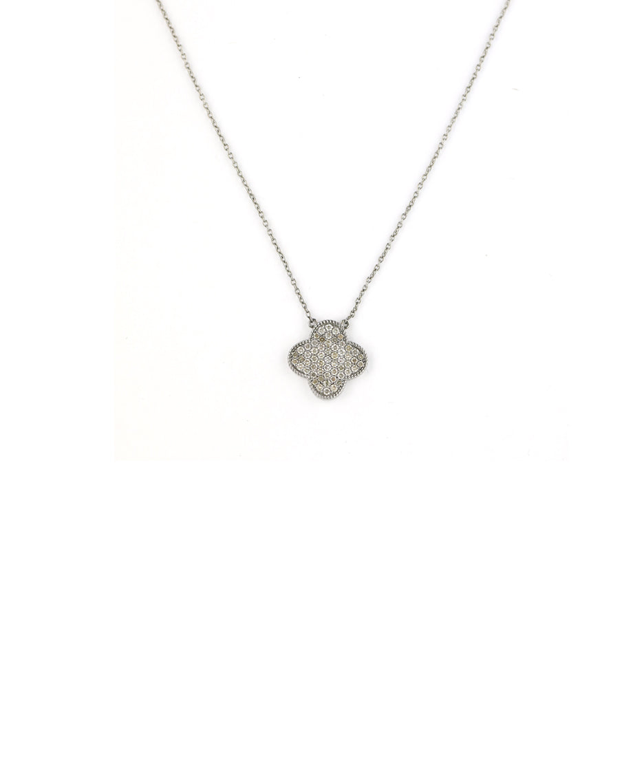 Pave Diamond Silver Clover Necklace