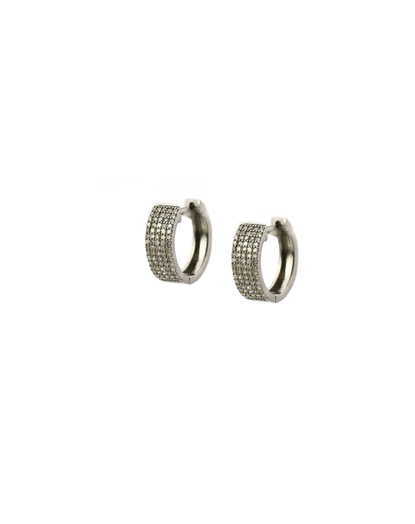 Thick Pave Diamond Huggie Earring