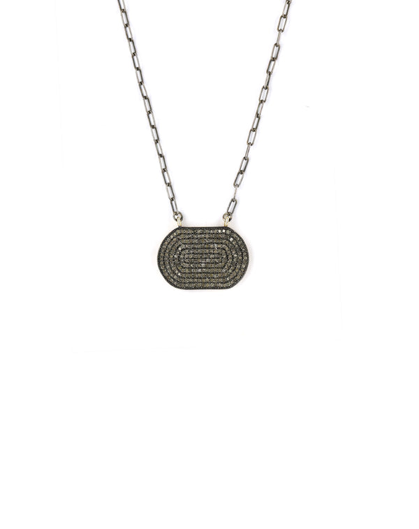 Pave Diamond Plate Silver Necklace