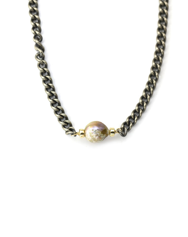 Bronze Pearl Curb Chain Necklace
