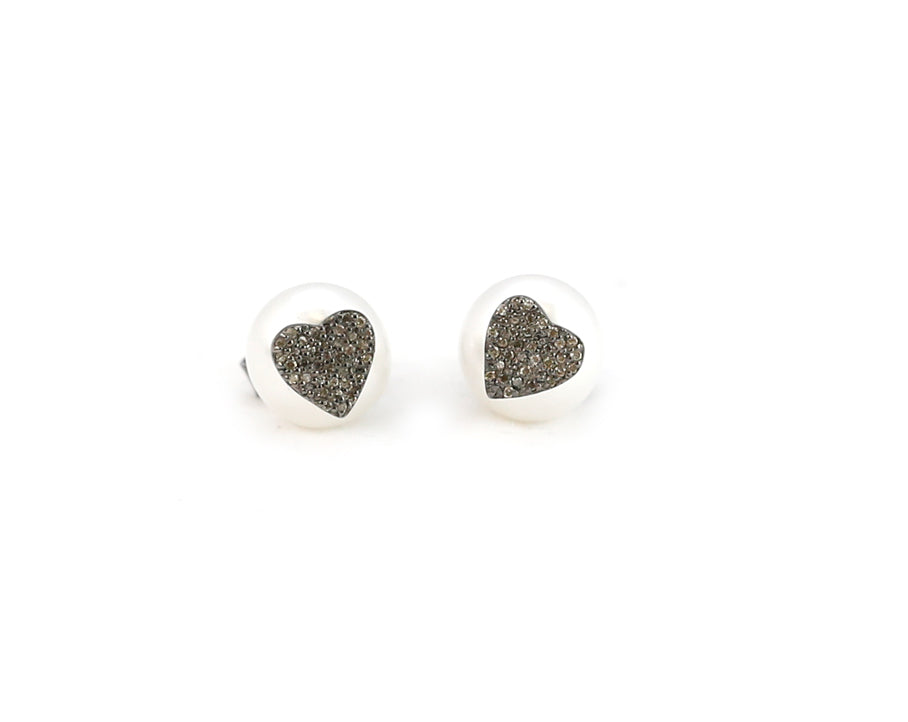 Pearl Diamond Heart Studs